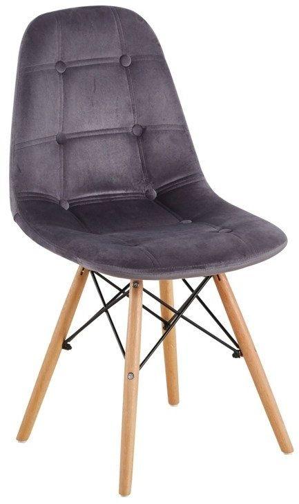 Nowoczesne krzesło z tkaniny welurowej BOARD II szare - buk czarny szary