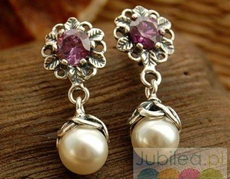Dinar - srebrne kolczyki z perłą i ametystem