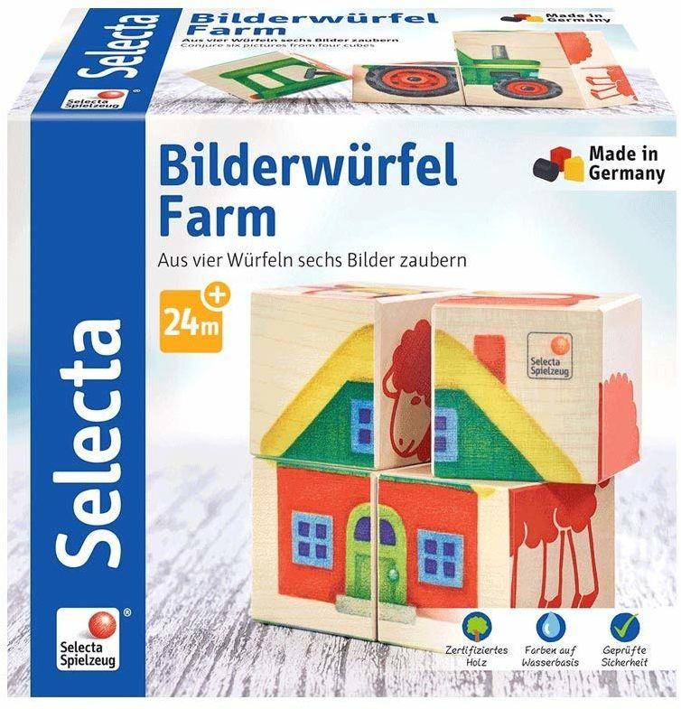 Selecta 62052 Bilderwürfel Farm, układanka z drewna, 4 części