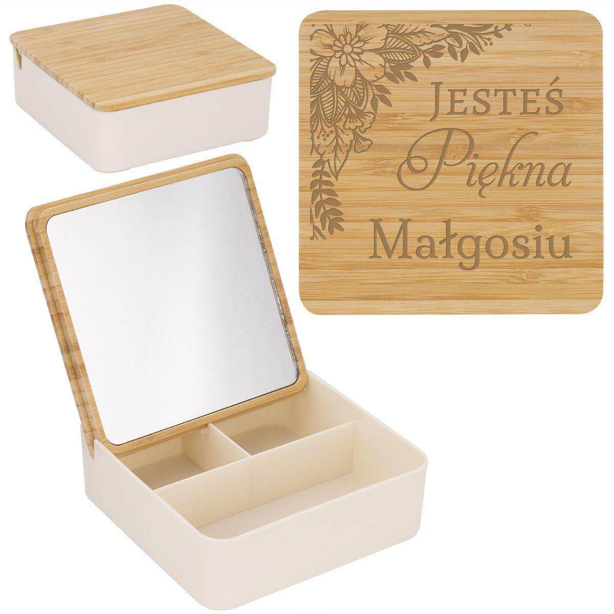 Pudełko na biżuterię kosmetyki z lusterkiem Grawer