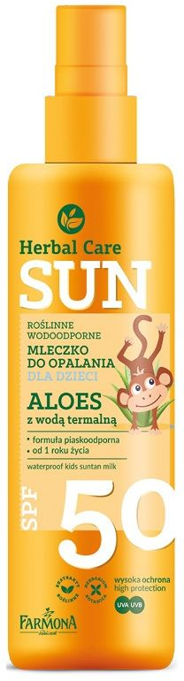 HERBAL CARE Sun SPF 50 Roślinne wodoodporne mleczko do opalania dla dzieci ALOES z wodą termalną 150ml