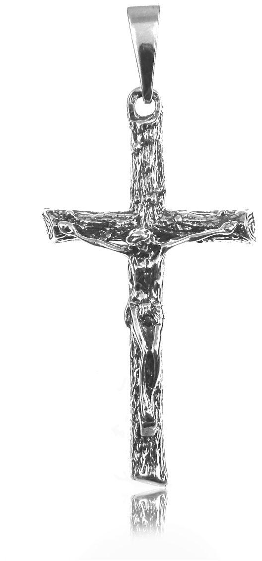 Elegancki oksydowany srebrny wisior duży krzyż na gruby łańcuch z wizerunkiem Chrystusa srebro 925 PT_K1007