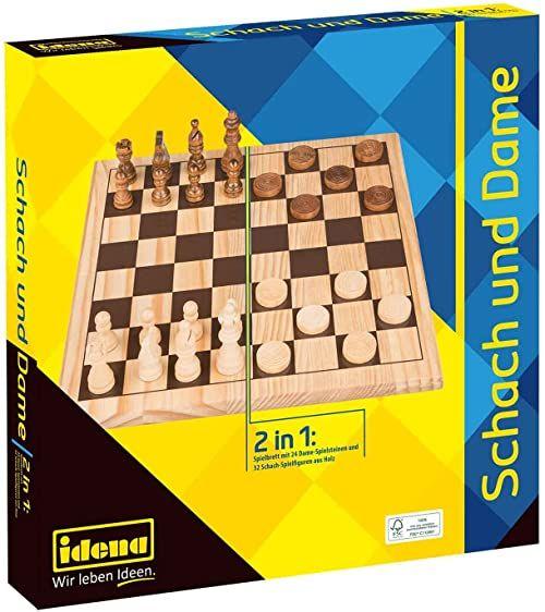 Idena 40174 49174 klasyk gier Schach i Dame 2 w 1, z deską do gry, 32 figurkami szachu i 24 płytkimi kamieniami, na ekscytujące wieczory w gry z przyjaciółmi i rodziną, kolory drewna