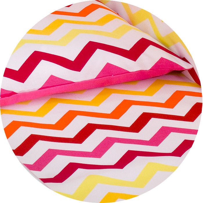 MAMO-TATO pościel 2-el Zygzak żółto-czerwony do łóżeczka 60x120cm - PROMOCJA