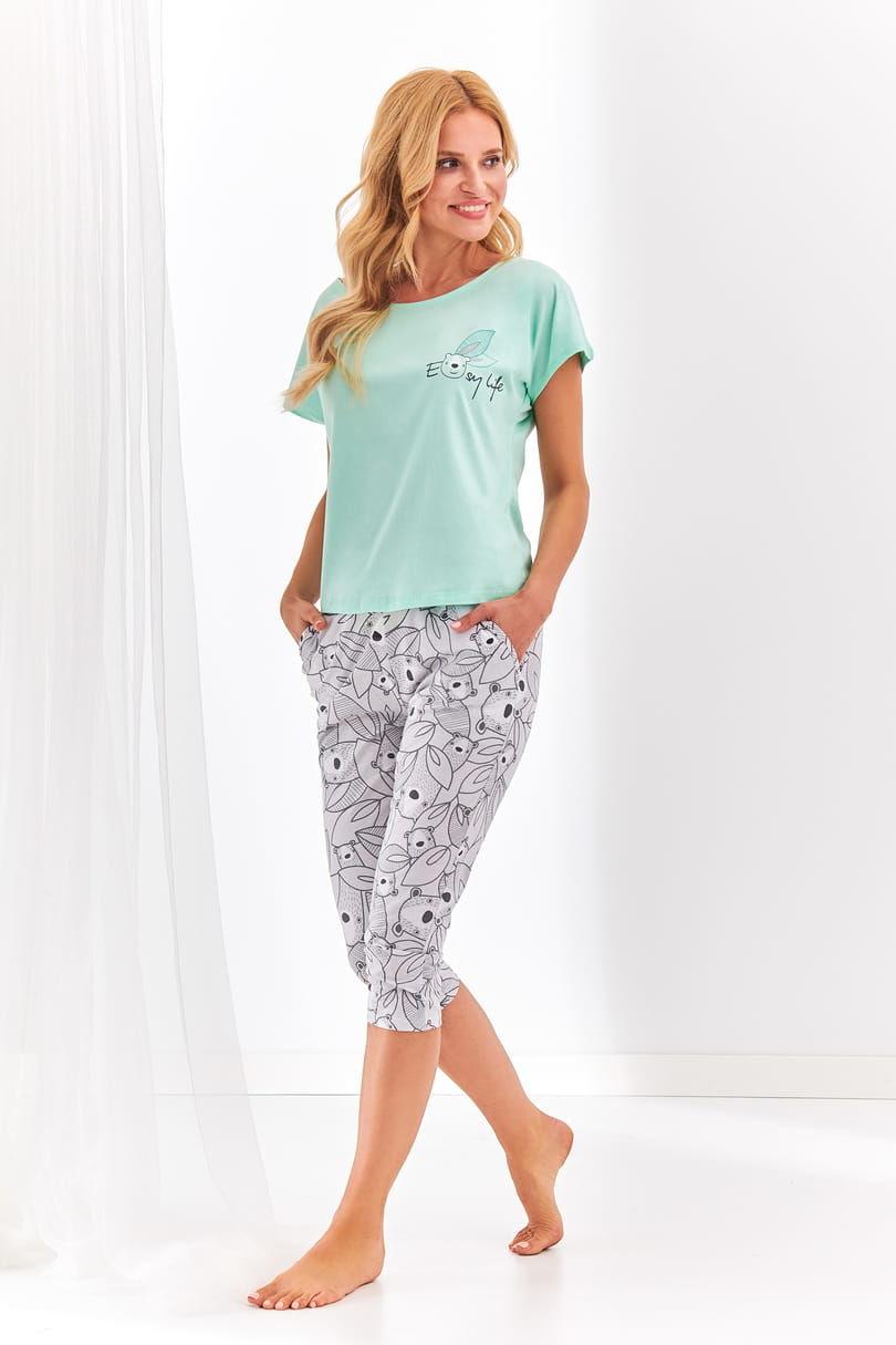 Bawełniana piżama damska TARO 2168 Etna miętowa