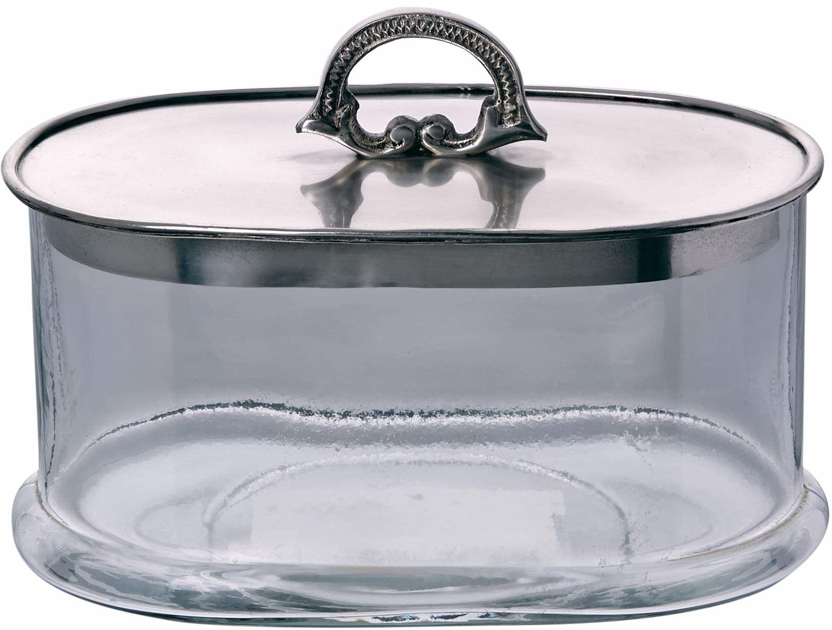 Better & Best 0552233  Owalne szklane pudełko w kolorze srebrnym z pokrywką
