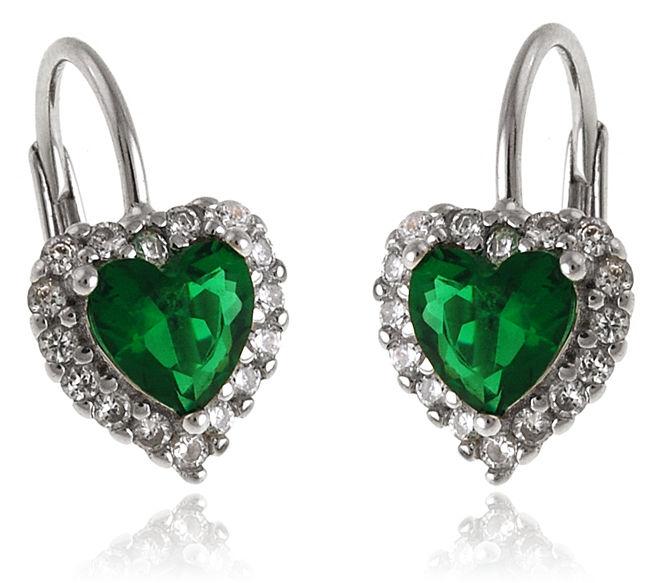 Wiszące rodowane srebrne kolczyki serca serduszka heart szmaragd cyrkonie srebro 925 K2954