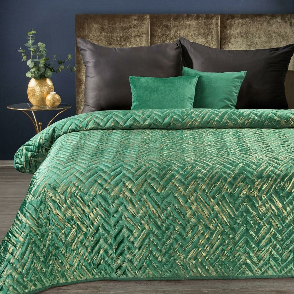 Narzuta dekoracyjna 170x210 Agata 1 zielona ciemna z nakrapianym złotym nadrukiem welwetowa Eurofirany