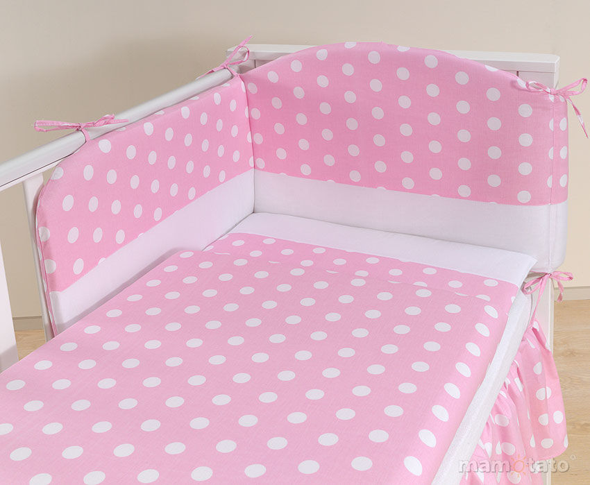 MAMO-TATO pościel 2-el Grochy różowe do łóżeczka 60x120cm