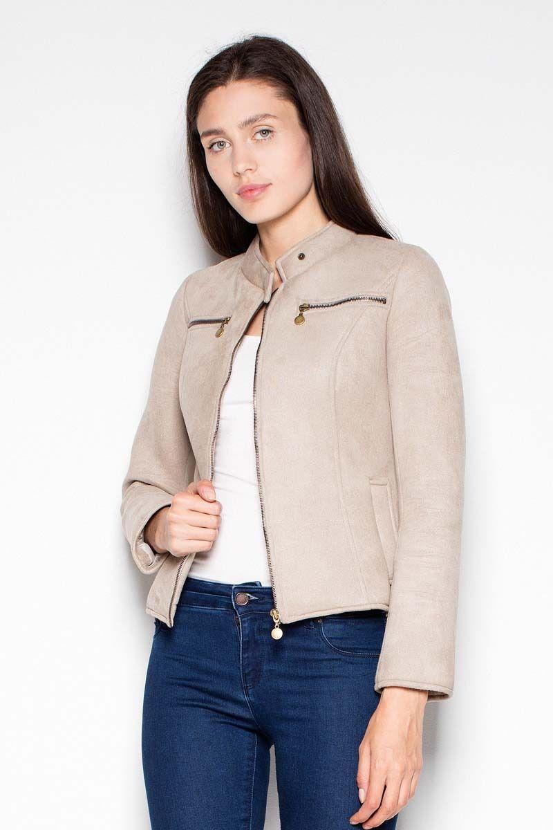 Beżowa krótka kurtka damska z niską stójką