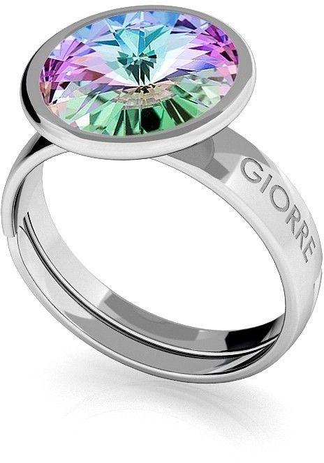Srebrny pierścionek Swarovski rivoli 10mm, srebro 925 : Kryształy - kolor - Crystal VL, Srebro - kolor pokrycia - Pokrycie platyną