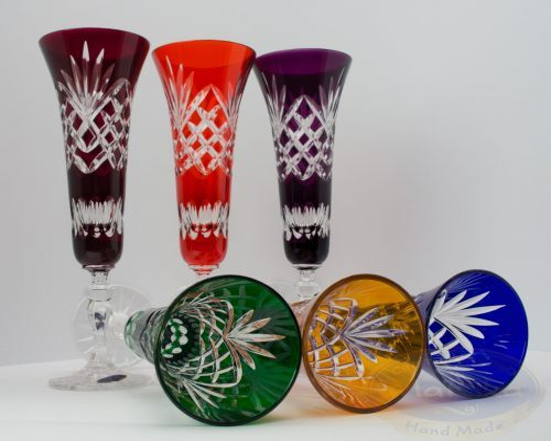 Kolorowe kryształowe kieliszki do szampana 170ml Ananas 6 sztuk