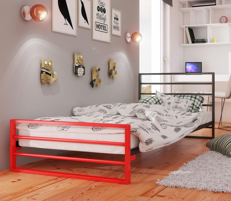 Łóżko młodzieżowe 100x200 wzór 7J DuoColor ze stelażem
