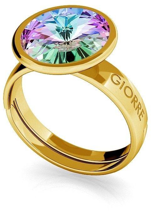 Srebrny pierścionek Swarovski rivoli 10mm, srebro 925 : Srebro - kolor pokrycia - Pokrycie żółtym 18K złotem, SWAROVSKI - kolor kryształu - Crystal VL