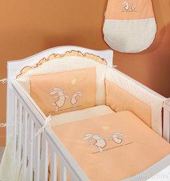 MAMO-TATO pościel 3-el Wesołe zajączki brzoskwiniowe do łóżeczka 60x120cm