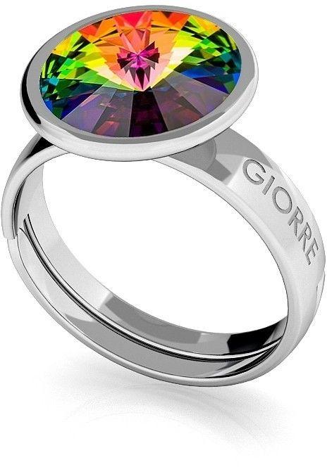 Srebrny pierścionek Swarovski rivoli 10mm, srebro 925 : Kryształy - kolor - Crystal VM, Srebro - kolor pokrycia - Pokrycie platyną