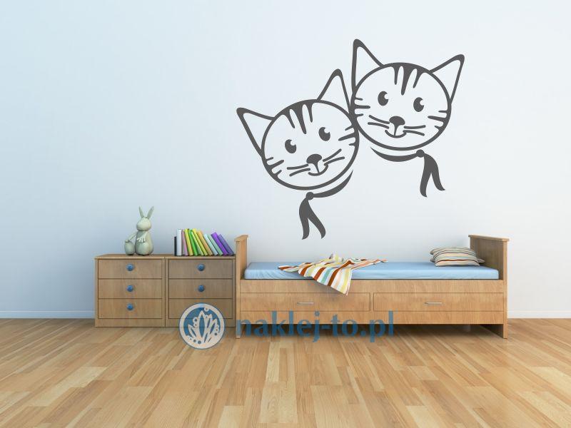 Kotki dwa naklejka na ścianę