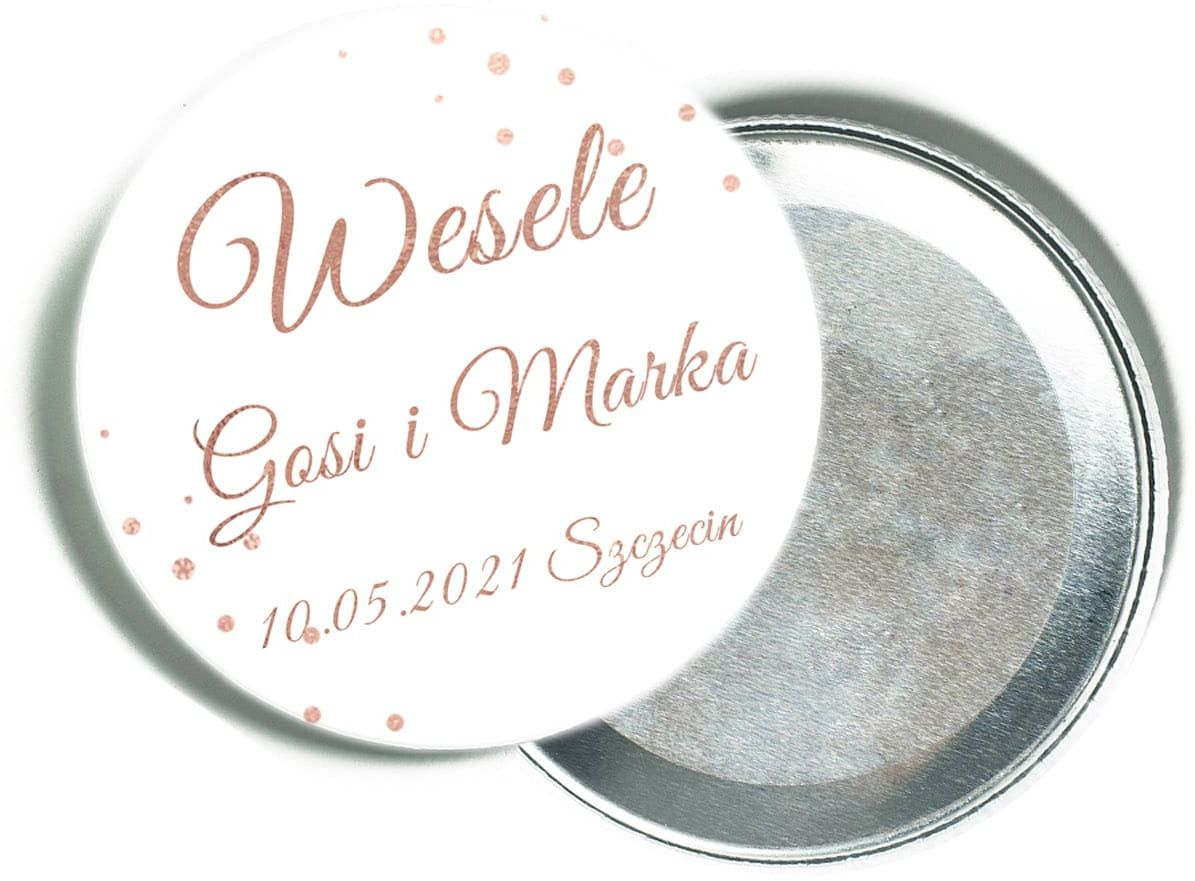 Personalizowane podziękowanie z magnesem na Wesele - 12 szt.