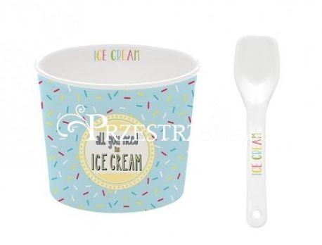 KUBECZEK PORCELANOWY DO LODÓW z ŁYŻECZKĄ - Ice Cream Blue