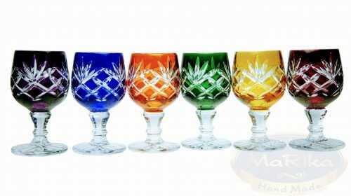 Kolorowe kryształowe kieliszki do wódki 40 ml Ananas 6 sztuk