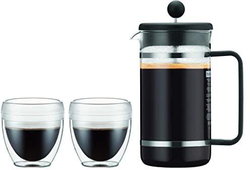 Bodum K1508-01SA-10 Bistro zestaw 2 kubków PAVINA Outdoor 0,25 l + zaparzacz do kawy z tworzywa sztucznego, 8 filiżanek, 1 l, czarny