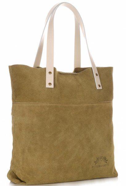 Torebki Skórzane Shopper Bag Włoskiej Marki VITTORIA GOTTI Zielone