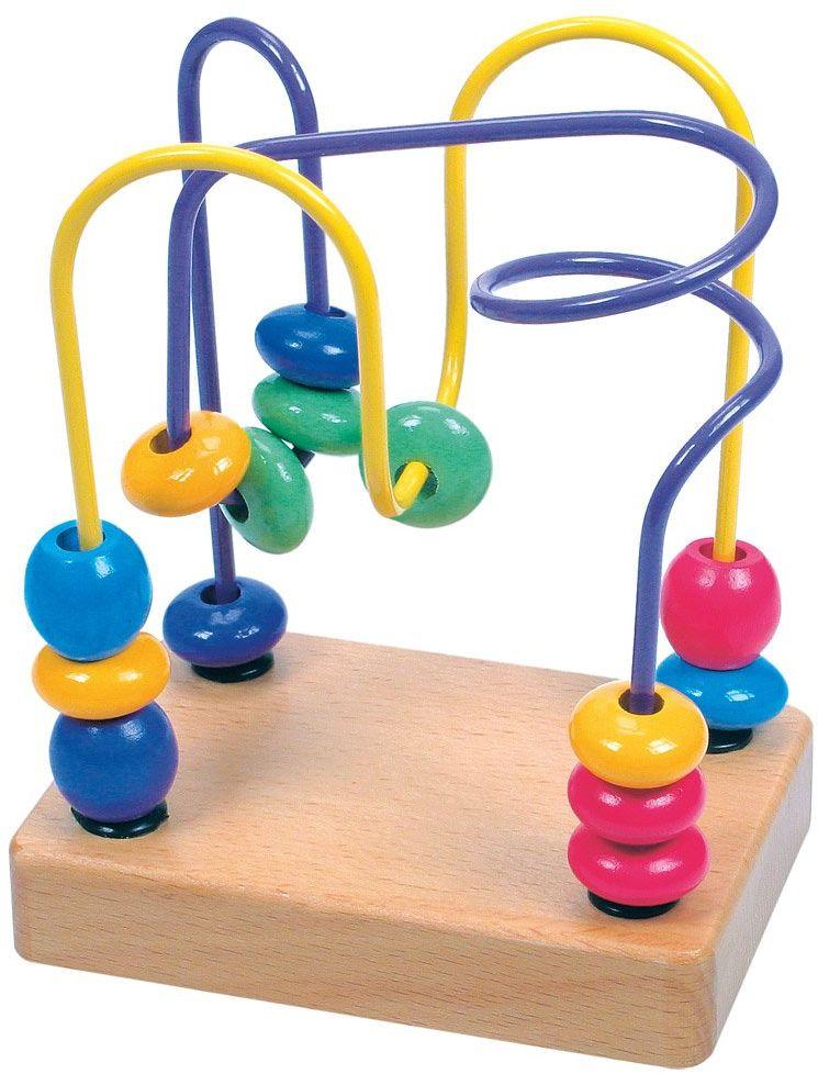 Bino 84163 Labirynt dla małych dzieci. Kolorowa podstawka z drutu z koralikami na drewnianej podstawie, idealna do ćwiczenia umiejętności motorycznych. Rozmiar 10 x 7 x 12,5 cm, wielokolorowa