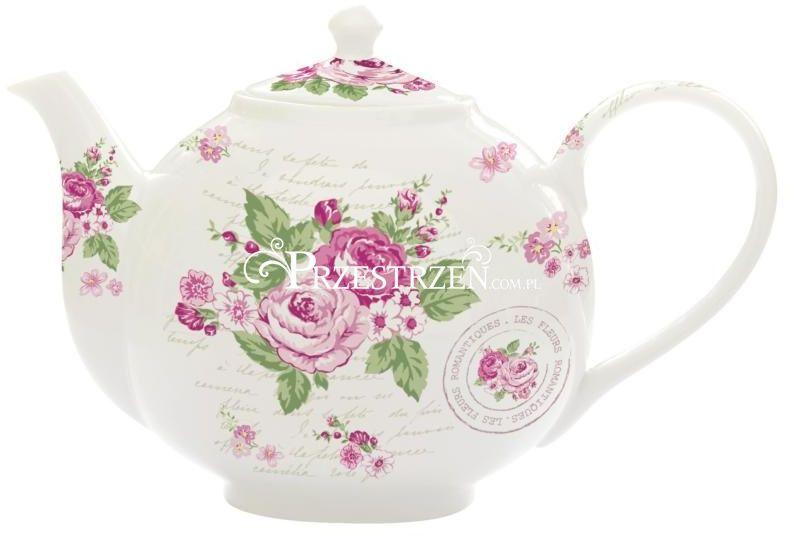 IMBRYK DZBANEK PORCELANOWY DO HERBATY z zaparzaczem Le Jardin Secret ROSES Róże (930 LERR) Nuova R2S