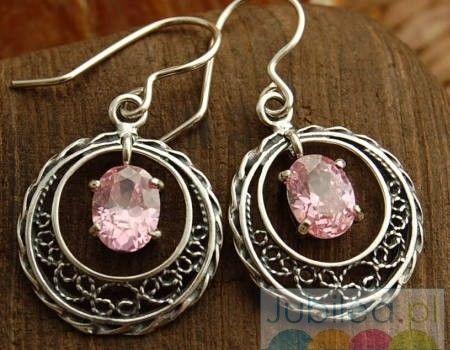 Pedra - srebrne kolczyki z różowym kryształem