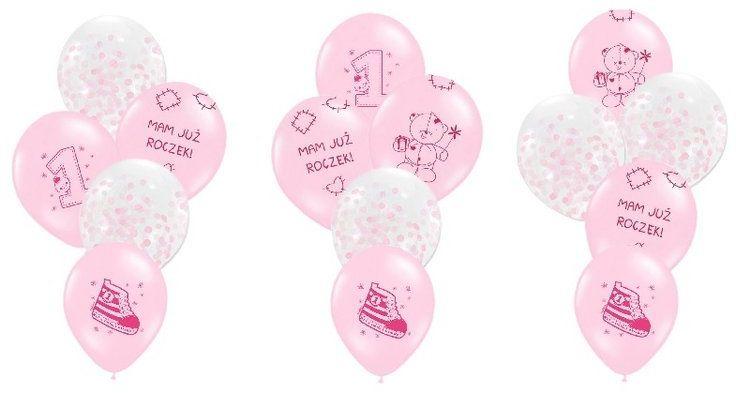 Zestaw balonów na Roczek dziewczynki 15 sztuk ZB33