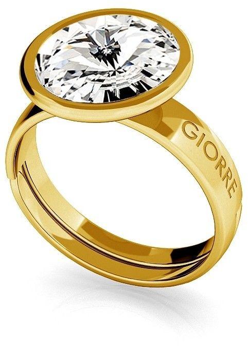 Srebrny pierścionek Swarovski rivoli 10mm, srebro 925 : Srebro - kolor pokrycia - Pokrycie żółtym 18K złotem, SWAROVSKI - kolor kryształu - Crystal