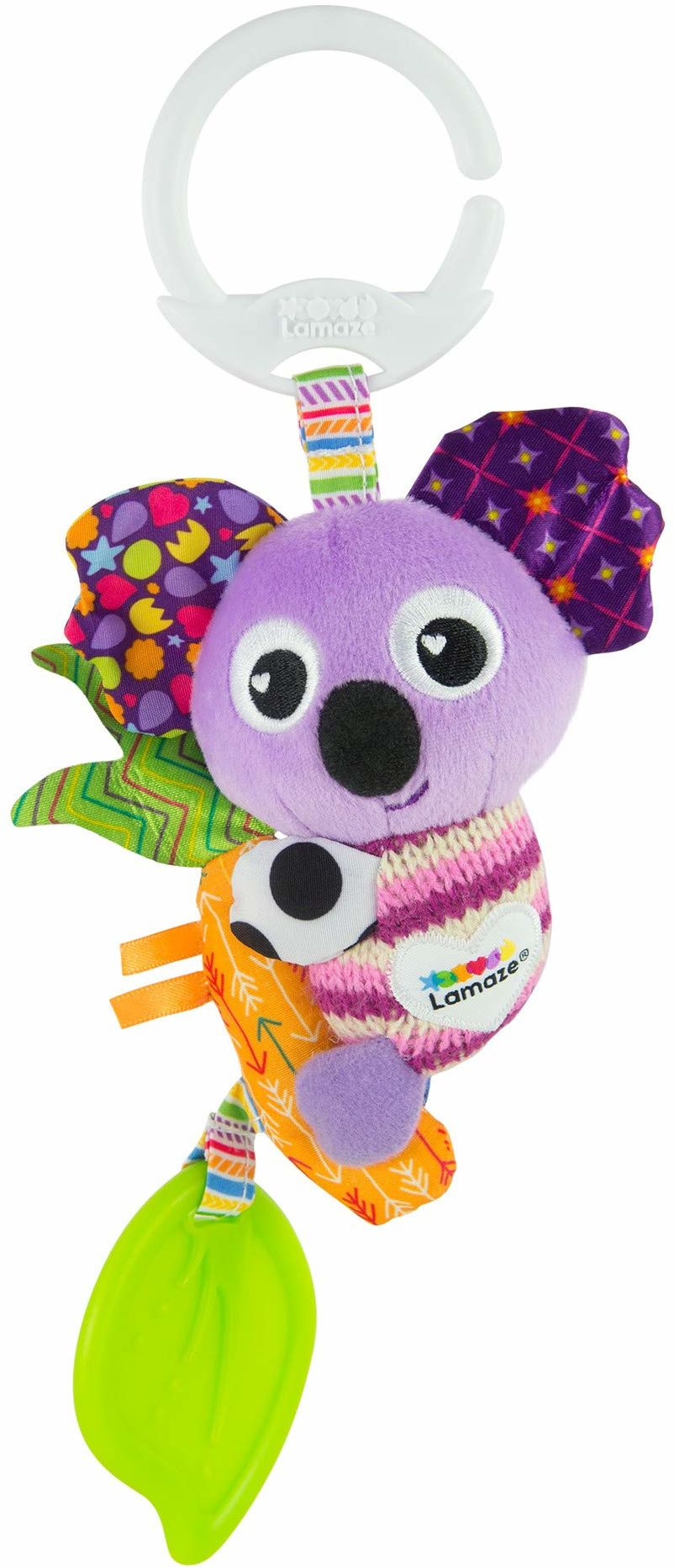 LAMAZE Mini Clip and Go Koala zabawka dla niemowląt, klips do wózka dziecięcego, zabawka i wózek dziecięcy, zabawka sensoryczna dla noworodków, chłopców i dziewcząt w wieku od 0 do 6 miesięcy