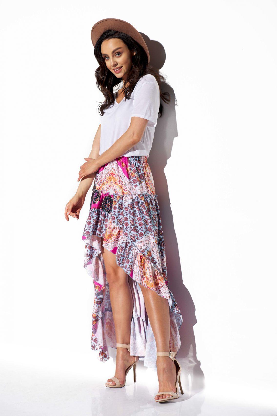 Asymetryczna spódnica z falbaną z jedwabiem LG544 druk 16