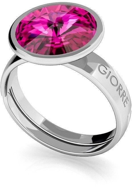 Srebrny pierścionek Swarovski rivoli 10mm, srebro 925 : Kryształy - kolor - Fuchsia, Srebro - kolor pokrycia - Pokrycie platyną