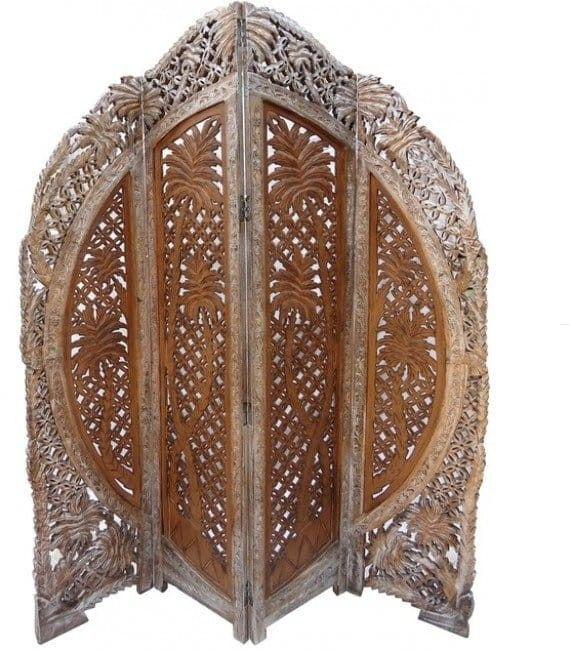 Parawan Indyjski Ręcznie Rzeźbiony Orientalny Styl