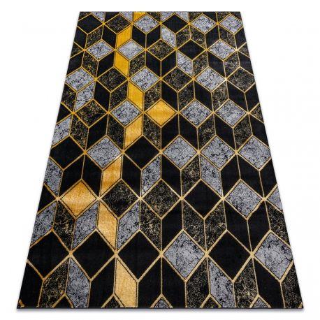 Dywan GLOSS nowoczesny 400B 86 stylowy, glamour, art deco, 3D geometryczny czarny / złoty 80x150 cm
