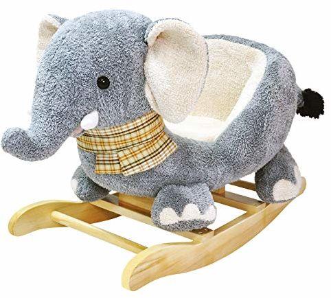 Bino 82547 pluszowy słoń bujany koń dla dzieci od 12 miesięcy, z wygodnym siedzeniem, wielokolorowy. Rozmiar: 65 x 49 x 36 cm.