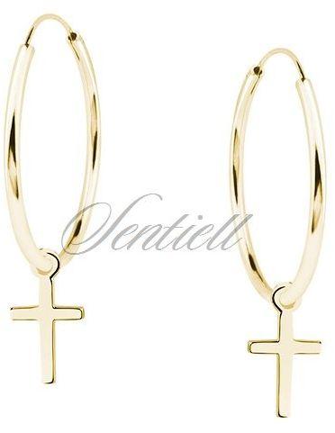 Srebrne kolczyki pr.925 pozłacane kółka z krzyżykami - Żółte złoto 30 mm