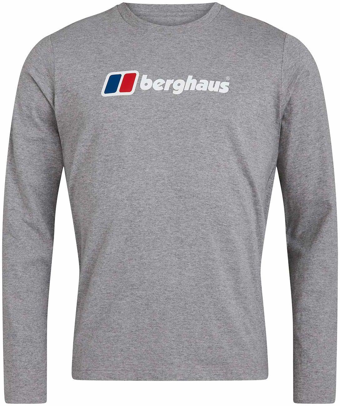 Berghaus Męska koszulka z długim rękawem z organicznym dużym logo Czysta biel XL
