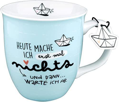 "H:)PPY life 46259 filiżanka z napisem ""Heute mach ich erstmal nichts, prezent, porcelana, 40 cl"