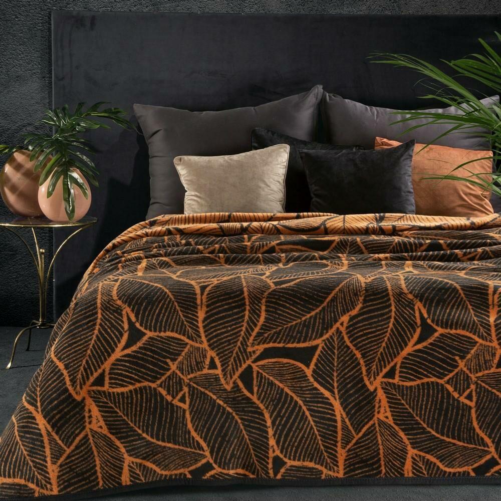 Koc narzuta bawełniany akrylowy 150x200 Akryl 6 czarny rudy liście Eurofirany
