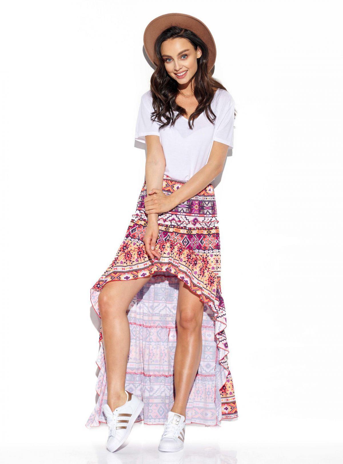 Asymetryczna spódnica z falbaną z jedwabiem LG544 druk 19