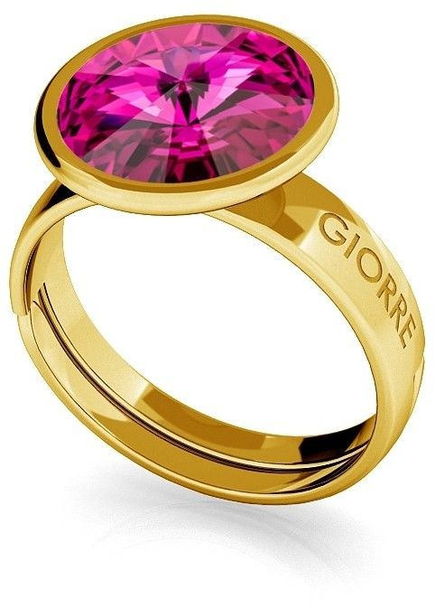 Srebrny pierścionek Swarovski rivoli 10mm, srebro 925 : Srebro - kolor pokrycia - Pokrycie żółtym 18K złotem, SWAROVSKI - kolor kryształu - Fuchsia