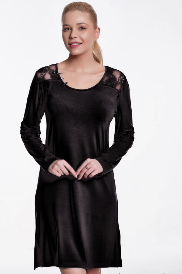 Bambusowa koszula nocna damska ANNA Czarny