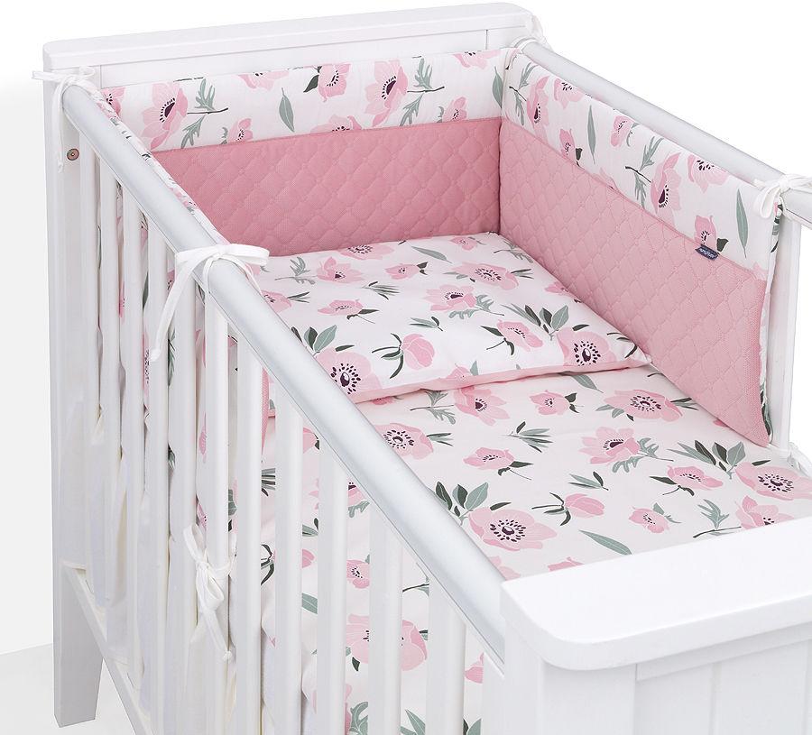 MAMO-TATO Ochraniacz do łóżeczka 60x120 Velvet PIK PREMIUM - Kwiaty na ecru / różany