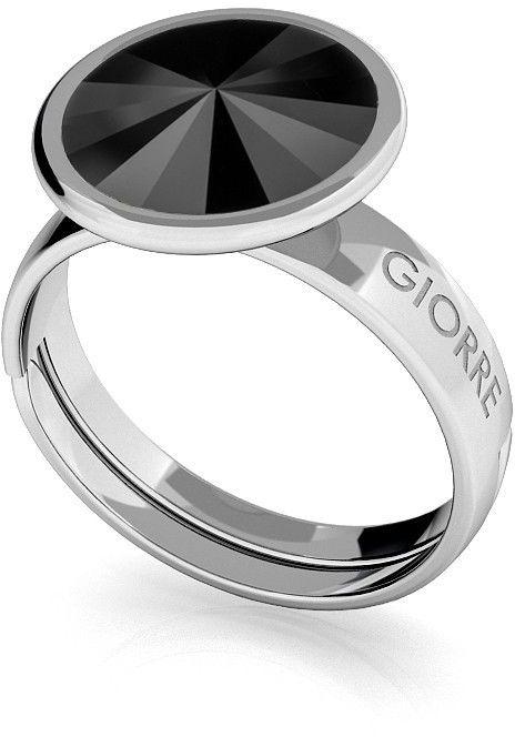 Srebrny pierścionek Swarovski rivoli 10mm, srebro 925 : Kryształy - kolor - Jet, Srebro - kolor pokrycia - Pokrycie platyną