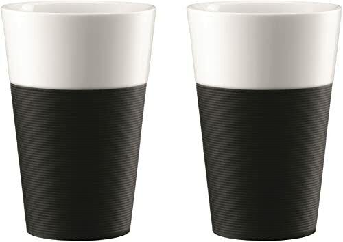Bistro 11583-01 Bistro 2-częściowy kubek z silikonowym rękawem 0,6 l - czarny/biały