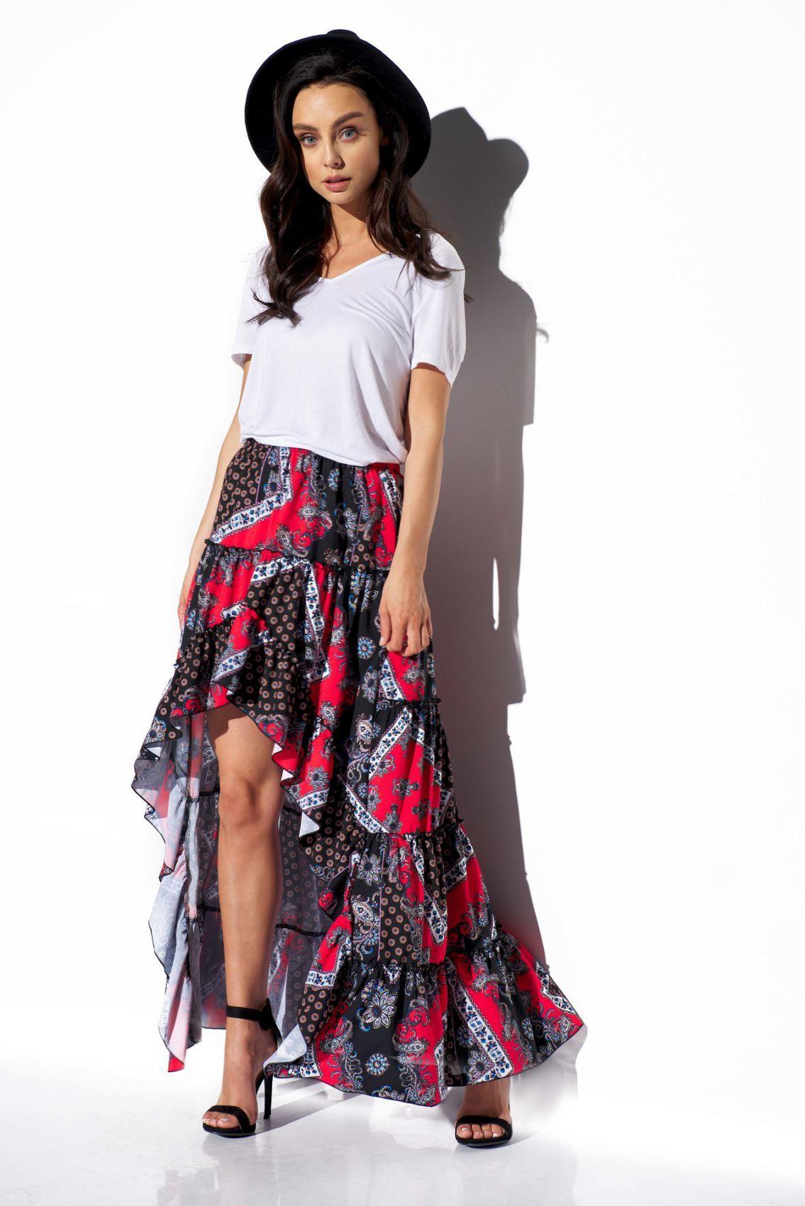 Asymetryczna spódnica z falbaną z jedwabiem LG544 druk 22