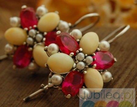Adriano - srebrne kolczyki perły, rubiny i bursztyny