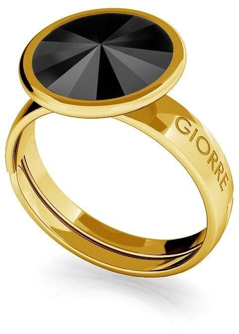 Srebrny pierścionek Swarovski rivoli 10mm, srebro 925 : Srebro - kolor pokrycia - Pokrycie żółtym 18K złotem, SWAROVSKI - kolor kryształu - Jet